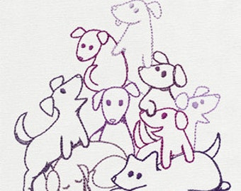 Pile O' Cute Puppies Dogs Embroidered Flour Sack Hand/Dish Towel
