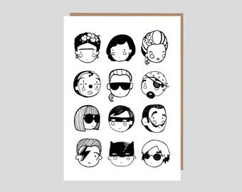 FACES Greetings Card -Black and White - blank