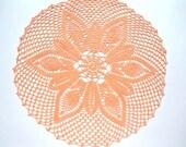 "Crochet doily peach, lace tablecloth, crochet centerpiece, large doily, 16"""