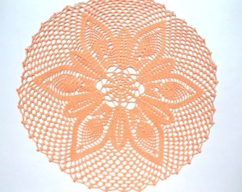 Crochet doily peach, lace tablecloth, crochet centerpiece, large doily, 16""