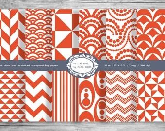 Digital Scrapbooking, Geometric Pattern Red Scrapbook Paper,  Printable 12x12 Scrapbook Patterns,Scrapbooking Paper Pack Digital Download