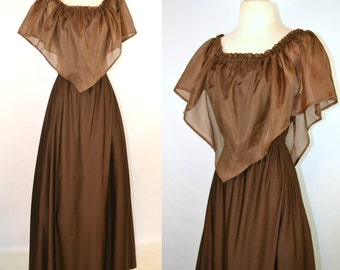 1970s Chocolate Brown Off The Shoulder Maxi Dress, Shawl Collar, Sleeveless