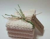 3 Dishcloths In Soft Ecru Cotton Kitchen Ware