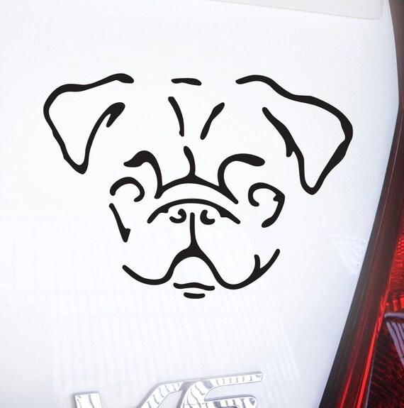 Pug Decal - Sticker - Car Window,  Laptop, Wall