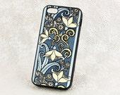 Art Nouveau style Snowdrop Floral iPhone 5 Case, Vintage iPhone 6 case, Protective iPhone Case, Blue floral iPhone 6 Plus, iPhone Cover