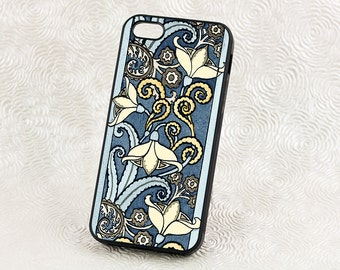 Art Nouveau style Snowdrop Floral iPhone 5 Case, Vintage iPhone 6 case,  iPhone Case, Blue floral iPhone 6 Plus, iPhone 7 Case
