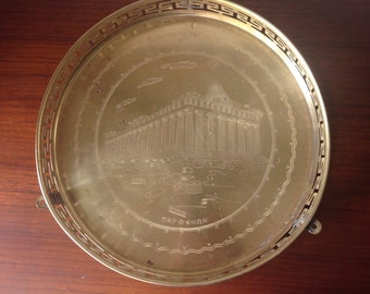 Brass tray. Greek Key Tray. Etching. Entertain ware.