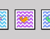 Narwhal Chevron Art Prints - Set of 3 - Choose Colors - Whale - Ocean - Sea - Children's - Nursery - Decor