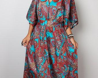 Maxi Dress -  Boho Kaftan Maxi Dress : Boho Kimono Collection No 1.1