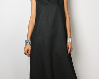 Black Dress / Sleeveless Black Dress with hood / Black Linen Dress  : The Soul of the Orient Collection No.4