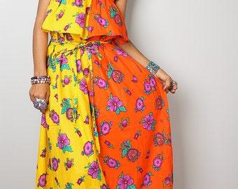 Summer Dress - Yellow Orange Floral Ruffle Halter Dress: Sunny Dreams Collection No.4
