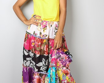 Maxi skirt / Patchwork Skirt : Boho Patchwork Collection No.1