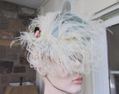 Vintage Jeanne Tete Silk Crepe Light Pale Aqua Blue Marabou Ostrich Feathered and Flowered Fascinators Hat, Vintage Hat, Vintage Millinery