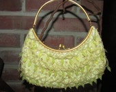 Vintage Gold, Silver/White Glass Beaded Formal Purse with Rhinestones and Snake Chain