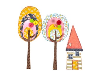 Whimsical House with Trees |  Paper art  | Paper Scrapbook Embellishments. Valentines gifts
