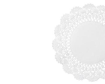 White paper doilies. Cambridge lace doilies with scallop edges. Doily catering coaster Cambridge lattice design. White doilies