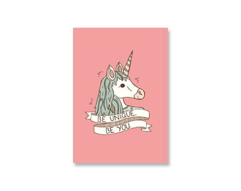SALE Magical Unicorn Mini Print / Postcard - 50% off