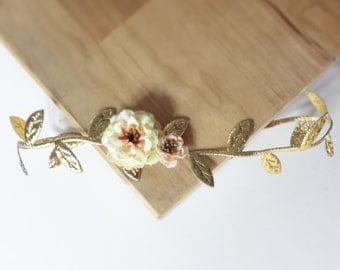 Gold Leaf Headband - Halo Headband - Bohemian Inspired - Baby Girl - Newborn Photo Prop Adult - Toddler - Gilded Gold Leaves - Peach Flower