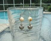 Silver-Italian Onyx Stone-Heart Dangle Earrings