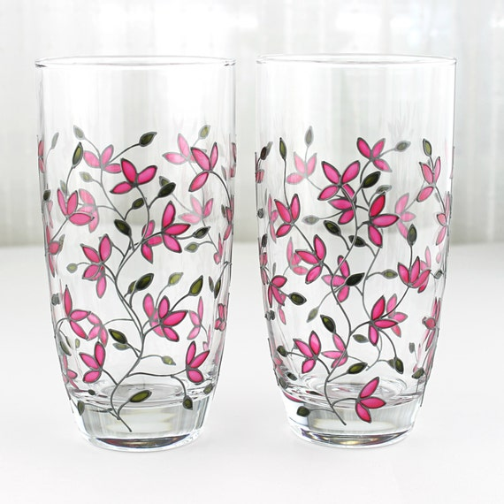 glass painting designs on drinking glass