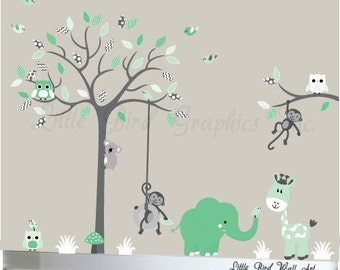 Childrens Wall Decal, Wall Decal Nursery, Baby Wall Decor, Decal Baby, Decal Nursery Tree, Tree Decal, Jungle Decal