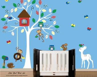 Decal treehouse, Treehouse Kids, Kids Treehouse Decal, Vinyl Decal for Kids, Swinging Monkey Decal, Decal Owls, Childrens Wall Decal