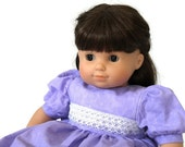 Lavender Doll Dress Light Purple & White Lace Cotton Summer Birthday Tea Party 14 to 16 inch Baby Doll - US Shipping Included