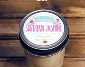 Southern Jasmine Soy Wax Floral Candle in 8 oz. Jelly Jar - Floral Candle for Entertaining, Gift, Home, Housewarming, Hostess Gift