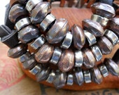 Handmade Southwestern Boho Unisex Navajo Pearl Copper Sterling Silver Adjustable Leather Bracelet