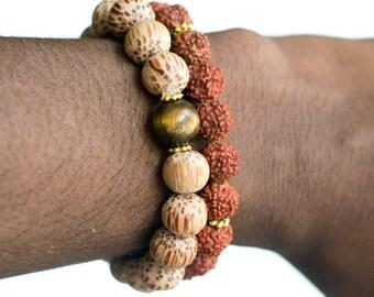 Rudraksha Seed Bracelet & Old Palmwood Bracelet, Wrist Mala Beads, Yoga Mala, Yoga Bracelet, Wood Bracele, Spiritual Jewelry