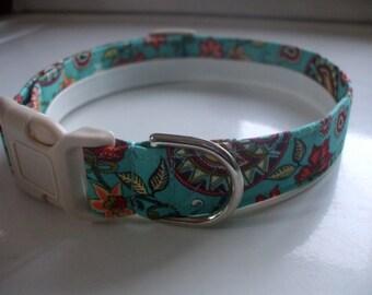 Handmade Cotton Dog Collar - Aqua Paisley
