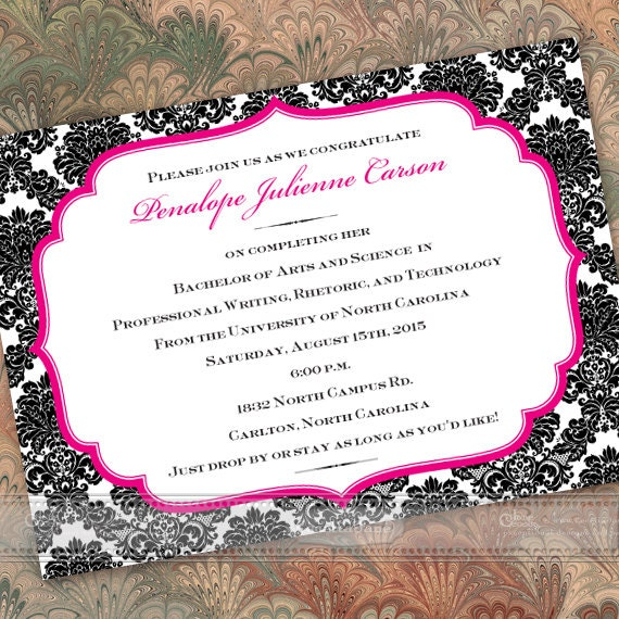 graduation invitations, black and fuchsia graduation announcements, black and hot pink party invitations, fuchsia bridal shower, IN283