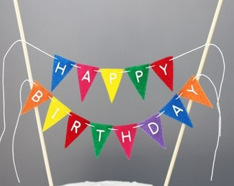 Happy Birthday Cake Banner, Rainbow Cake Bunting Topper, Bright Cake Banner, Birthday Photography Prop, Smash Cake Topper
