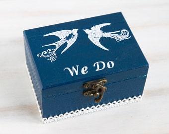 Wedding Ring Box / Pillow  Navy Blue Ring Bearer Box Wedding Box  Personalized Ring Bearer Box, Green Artificial Grass,ohtteam
