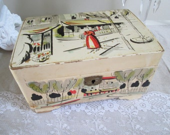 Musical jewelry box lacquer ware vintage Japan wind up jewelry box ivory color Paris street scene mid century modern art