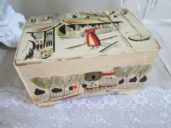 Musical jewelry box lacquer ware vintage japan wind up jewelry for Mid century modern toy box
