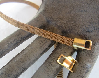 Vintage Brass Mesh Chain 6mm 5Ft. With 6 Fold Over Ends