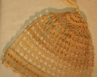 Antique Victorian Lace Crocheted Ecru Night Cap
