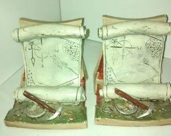 Rare Vintage Florentine Art Studio , Bookends, Gold Miner Map , Oregon trail ,