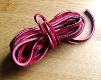 3 Yard Section, 3mm Red Suede, Suede Leather Cord, 3mm Red Thong Lace