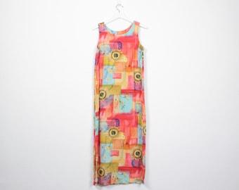Vintage 90s Dress Rainbow Sunflower Dress Soft Grunge Dress Midi Dress 1990s Dress Maxi Dress Boho Sunflowers Print Sundress M L Large XL