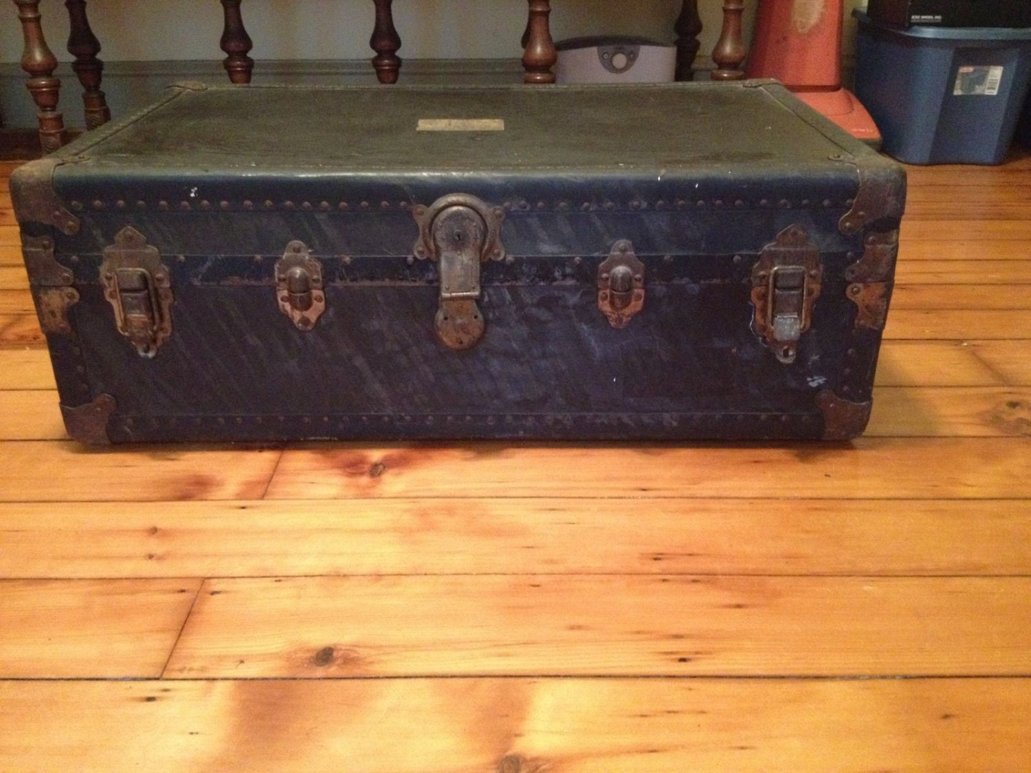 Vintage Steamer Trunk L Goldsmith And Son Neverbreak New