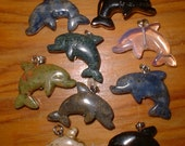 Choice of ONE DOLPHIN Bead Carved from Real Gemstone FREE Shipping for Protection Luck Grounding