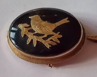 Vintage 9ct Gold Onyx Pendant Brooch Pin Bird Branch WONDERFUL