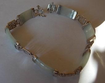 Vintage Jade Silver Panels Bracelet - LOVELY