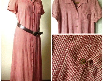 Shirtdress Long Midi Dress vintage 90s red check gingham button front short sleeves spring summer fall women small Talbots