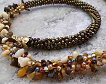 Beaded Kumihimo cluster chunky necklace with gemstone chips, statement necklace
