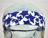 SALE Blue and White Star Print Headband with Beaded Ends. 2 Inch Width.