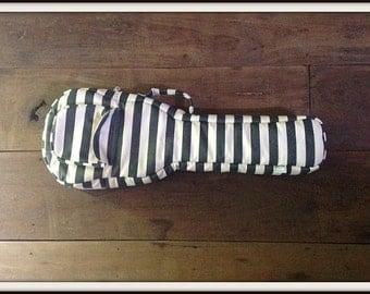 Tenor ukulele case - Grey and White stripes Tenor Ukelele Case (Made to order)