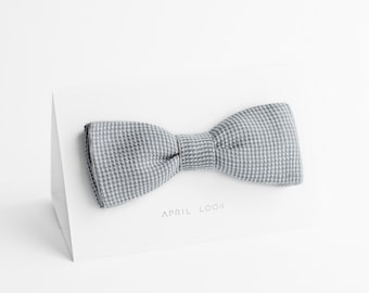 Gray bow tie, linen bow tie, MADE TO ORDER